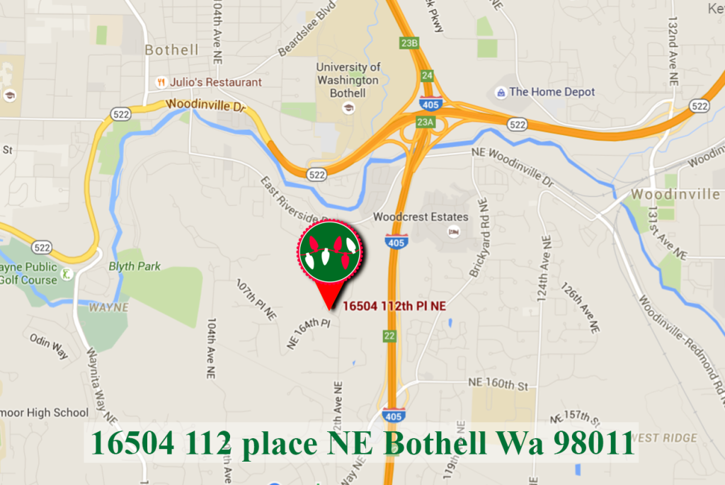map to best christmas lights display in bothell
